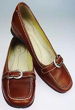 Women's 5M  Rockport Brown Leather Loafer Slip On Comfort Shoe