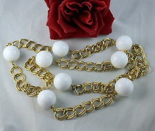 Kenneth Lane Gold tone Chain White Beads Necklace  CAT RESCUE