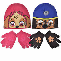 KIDS BOYS GIRLS PAW PATROL HAT & GLOVE SET - WINTER BEANIE HAT & GLOVES SET