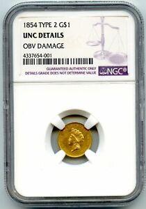 1854 Type 2 Princess Head G$1 NGC UNC Detail OBV Damage
