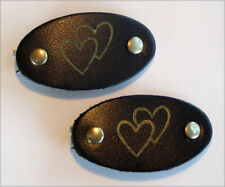 VINTAGE BLUE LEATHER BARRETTE HAIR ACCESSORIES HEARTS