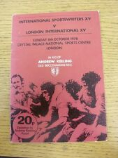 08/10/1978 Rugby Union Programme: At Crystal Palace National Sports Centre - Int