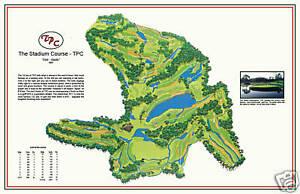 """TPC- 1980 """"The Stadium Course"""" 2015 Tour Championship a Vintage Golf Course Map"""