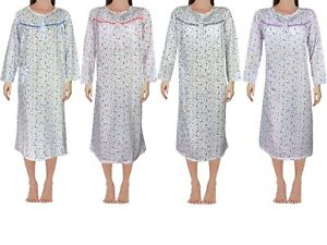 Womens Floral Nightdress Pjs Night Shirt Nighty Cotton Full Sleeves Plus 14-20