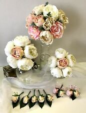 Silk wedding bouquet dusty pink roses peony flower white flowers buttonhole set