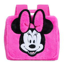NWT Disney Store Minnie Mouse Fuzzy Pink Backpack School Bag Tote Junior NEW