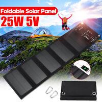 25W Faltbar Solarmodul Solar Panel Akku Power Bank Handy USB Ladegerät Camping