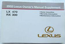 2002 Lexus LX470 / RX300 Owner's Manual Supplement Factory Book Warranty Info