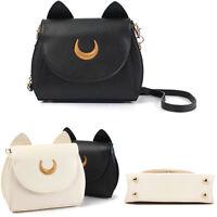 Hot Women Moon Cosplay Leather Shoulder Messenger Bag Handbag Luna Cat Tote