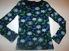 Old Navy Blue Green Floral Long Sleeve Cotton Top 6 7 Lot G7