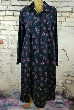 Vermont Country Store Navy Blue Floral Print Corduroy Long Sleeve Dress Size 1X