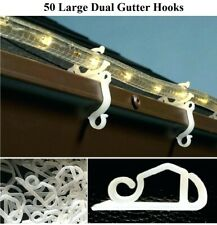 50 x Large Gutter Hooks Clips Outdoor Christmas Xmas Icicle Fairy Lights Plastic