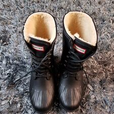 Hunter Originals Duck Boot Fur Lined Lace Up Size 10 Color Black