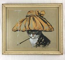 Vintage THE CAT'S MEOW Glamorous Smoking Cat Retro Art Deco MCM 11x13 Framed