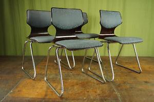 60er Vintage Stuhl Flötotto Stapelstuhl Esszimmer Pagholz Chrom 70er 1/4