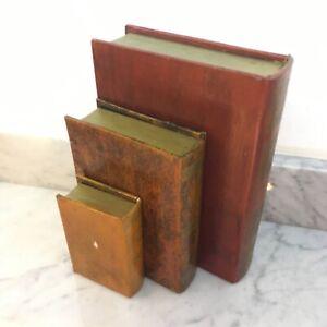 3 Secret Book Boxes Wood Vintage Classic Faux Leather