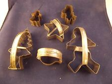 SET OF 6 VINTAGE OPEN BACK METAL CHRISTMAS COOKIE CUTTERS