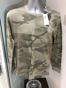 NEW MENS GENUINE ABERCROMBIE & FITCH GREEN CAMO TSHIRT HOLLISTERA&F SMALL RRP£39