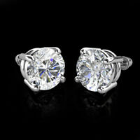1Ct Created Diamond 14K White Gold Screw Back Children Stud Earrings 5mm