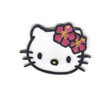 "HELLO KITTY w/PINK FLOWERS(2"" x 1 1/4"")-Cartoon Character/Iron On Applique Patch"