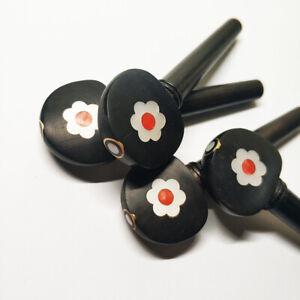4/4 Violin Ebony Peg Pegs Abalone Inlaid Shell Conch Flower Natural Wood Black