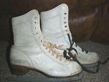 Vintage Women's Perforated Leather Wood Heel Ice Figure Skates 6/7