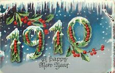 Embossed Postcard No.912 New Year Date 1910 in Holly Leaves Berries & Icicles