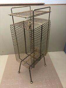 Vtg Gold Tone Telephone Stand Magazine Phone Mesh Metal Wire Rack Mid Century