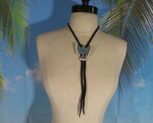 Black Cord Bolo Tie with a Silver, Blue, & White THUNDERBIRD Slide & Silver Tips