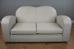 Art Deco Style Leather Two Seater Sofa
