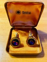 Vintage Beales of Bournemouth Cufflinks Gold Tone Faceted Purple Stone Boxed