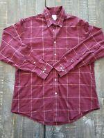 Brooks Brothers 1818 Button Down Shirt Mens L Red Blue Plaid Regent 100% Cotton