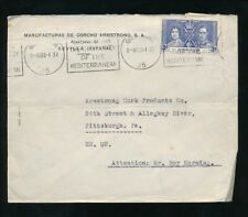GIBRALTAR 1937 CORONATION 3d FRANKING PRINTED ENVELOPE to USA COMMERCIAL