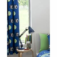 """CATHERINE LANSFIELD LINED FOOTBALL CURTAINS BLUE KIDS BEDROOM 66"""" X 72"""" FREE P+P"""