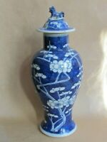 CHINESE KANGXI LIDDED BALUSTER JAR - PRUNUS PATTERN - DOG OF FO FINIAL (Ref5253)