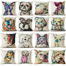 UK Dog Cushion Covers 45cm ALL BREEDS! Retro Animal Art Puppy Throw Pillow Gift