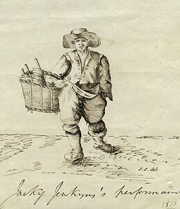 MAN WITH BASKET & LOVELY circa 1813 ORIGINAL ENGLISH SCHOOL INK DRAWING, SIGNED