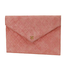 CHANEL CC Logos Clutch Pouch Bag Pink Suede Vintage Italy Auth #SS237 S