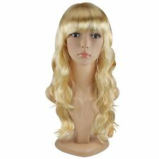 FanWomens Blonde Sexy Long Curly Hair Wig Chic Wavy Full Wigs Party B4M7