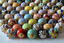 20 PC Ceramic Cabinet Knobs Pulls Hand Painted Drawer Door Handles Color knobs