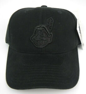 CLEVELAND INDIANS BLACK ON BLACK MLB VTG AMERICAN NEEDLE STRAPBACK CAP HAT NWT!