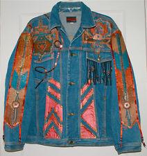 Vintage Unisex Artistic Custom Denim Jean Jacket Size XL Western style Concho
