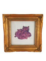 Andy WARHOL Purple Cats Print Repro in Vtg Ornate Gold Wood Frame POP Art 7 x 7