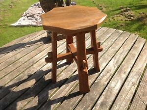Arts and Crafts small stool, carved oak Stamped WJ  260 mm high