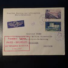 AVIACIÓN CARTA COVER PREMIER DE VUELO POR HELICÓPTERO PARIS BRUSELAS 1957