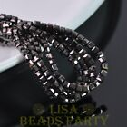 100pcs 4mm Cube Square Faceted Crystal Glass Loose Spacer Beads Gun Black