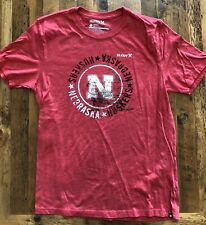 Nebraska Huskers Hurley Mens Large  T-Shirt Vintage Faded Red Premium Fit