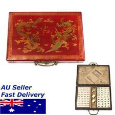 AU Rare Chinese 144 Pieces Mah-Jong Set With Portable Retro Mahjong Box