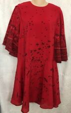 Valentino Dress Red Black bird print silk full sleeve Size 4