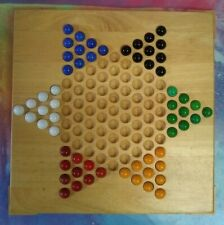 Solid Wood 1 Piece Chinese Checkers Board With 60 Glass Marbles